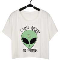 White Alien Printed Crop Top
