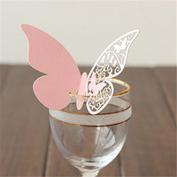 50pcs/package Butterfly Paper Wine Glass Card Paper Place Card / Escort Card / Cup Card for Wedding Par Wedding Favors 326285 (Color: Pink) = 1932242116