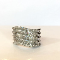 Vintage Diamond Ring 1 CT Carat Genuine Diamond Sterling Silver Band Antique Estate Jewelry Anniversary Ring Promise Christmas Gift For Her