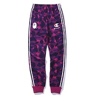 BAPE AAPE X Champion Autumn Winter Popular Women Men Casual Print Purple Camouflage Sport Pants Trousers Sweatpants