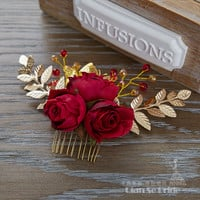 High End hair red combs women crystall jewelry hairpins artificial flower hair ornaments bridal wedding accessories Gifts xy051