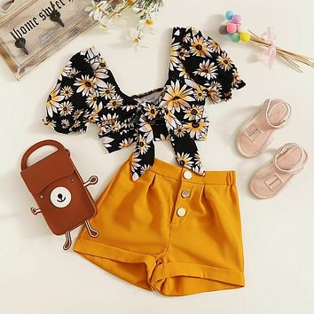 US 2PCS Toddler Kids Baby Girl Clothes Floral Tops Crop Pants Outfits Sunsuit
