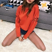 2017 cotton solid patchwork slevee fashion women hoodies Autumn streetwear casual punk sexy party sweatshirt T7233