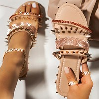 Summer new style sandals flat rivet women's shoes sandals slippers shoes