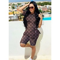 LV Louis Vuitton New fashion monogram print top and shorts two piece suit Coffee