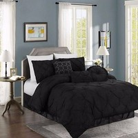 Chezmoi Collection 7-Piece Sydney Pintuck Pleated Duvet Cover Set Full, Black