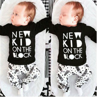 Keelorn  New 2017 baby boy clothes infant clothes cotton letter printed long sleeve t-shirt + pants suit baby girl clothing sets