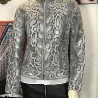 Vintage 90s RUBY RD Faux Snakeskin Jacket / Black and White Zip Up Moto Jacket / Slim Fit Women's Casual Coat / Sexy Animal Print Jacket