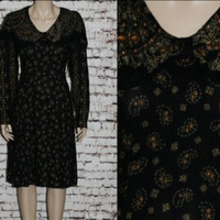 90s Dress Long Sleeves Peter Pan Collar Rayon Midi Black Paisely Grunge Hipster Boho Festival Hippie 80s Romantic S M