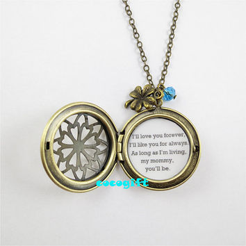 Always My Mommy Mother Gift Mother Necklace I'll Love You Forever Quote Locket Necklace clover blue bead charm Necklace