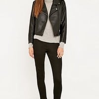 Sparkle & Fade Shrunken Vegan Leather Biker Jacket - Urban Outfitters