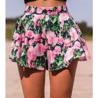 Like A Cyclone Shorts- Pink Floral - CLOTHING