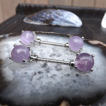 "14g Amethyst Nipple Barbell Ring 1/2"" Gemstones Pair Silver Body Piercing Jewelry Nipples Straight Bars Piercings Barbells Stainless Steel"