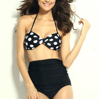 Black and White Polka Dot High Waist Bikini with Ruched Detail