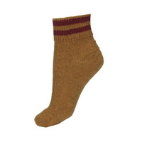 Mix Knit Ankle Socks with Stripe Trim