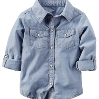 Button-Front Chambray Top