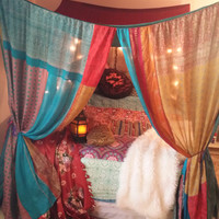 Boho Bed Canopy Gypsy Hippie Hippy HippieWild Patchwork India Sari Scarves Bedroom Decor Bohemian Chic