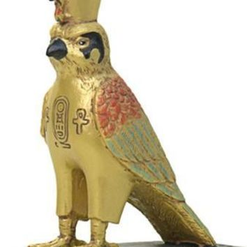 Horus Falcon Egyptian Miniature Statue with Golden Details 3.5H
