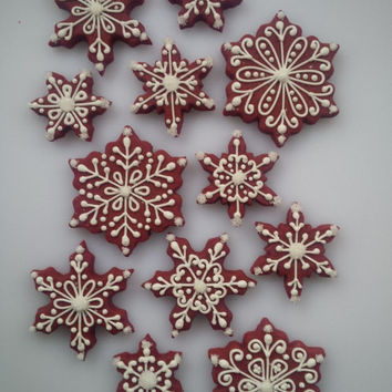 Red Velvet Snowflake Cookies - One Dozen Decorated Christmas / Holiday Cookies