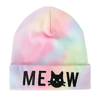 Meow Cat Rainbow Dye Watchman Beanie