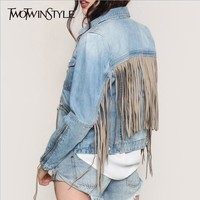 TWOTWINSTYLE Denim Jacket for Women Tassel Long Sleeve Zipper Bomber Jackets Jeans Coat Female Casual Clothes Korean Plus Size