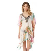 Sole Society Lace Up Floral & Stripe Caftan
