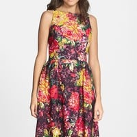 Women's Adrianna Papell Floral Print Lace Fit & Flare Dress