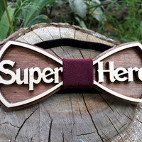 Free Shipping! Superhero Bow Tie Wooden Bow Tie Wood Bow Tie Boys Bowtie Wood Bowtie Wooden Bowtie Mens Bow Tie. 100% Hand Made - Mens Gift