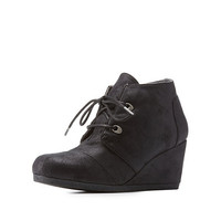Qupid Lace-Up Wedge Booties