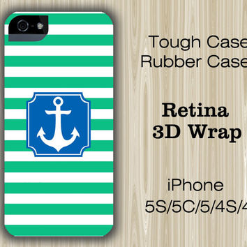 Seafoam Stripes Blue Anchor iPhone 6/5S/5C/5/4S/4 Case
