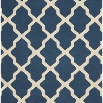 Cambridge Contemporary Indoor Area Rug Navy Blue / Ivory