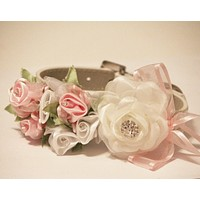 White and Pink floral dog collar, Rhinestone, Rose flower, pet wedding accessory