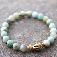 Amazonite Bracelet, Buddha Bracelet, Blue Amazonite Jewelry, Buddha Jewelry, Energy Bracelet Yoga Meditation, Boho Beach Stacking Bracelet
