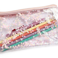 light pink Stars, Pencil case, Transparent wallet, Clear bag, Purse organizer, glitter bag