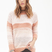 FOREVER 21 Striped Mixed Knit Sweater Pink