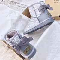 2018 Original UGG : girl Large bow tie Keep warm Snow boots