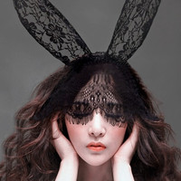 Black Lace Bunny Ears Fascinator