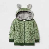 Baby Boys' Printed French Terry Hooded Sweatshirt with Ears - Cat & Jack™ Green