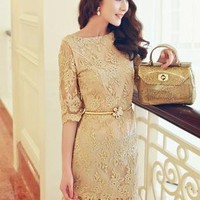 Retro Gold Embroidered Lace Dress JJ006