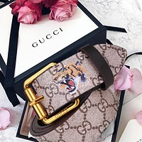 GUCCI Hot Sale Women Men Trending Design Retro Belt Snake Print Belt Snake Tiger