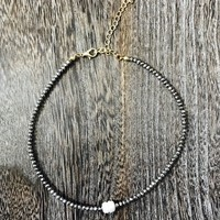 Pearl and Beaded Choker- Hematite