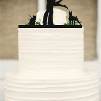 Wedding Cake Topper Silhouette Couple, Dog and cat Cake Topper, Bride and Groom Cake Topper - cake decor
