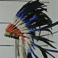 DCCKH6B 21inch royal blue Indian Feather headdress native american costumes halloween costumes indian war bonnet  feather hat
