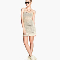 H&M - Pattern-knit Dress - Natural white - Ladies