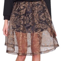 Golden Girl Midi Skirt - Black/Gold