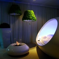 Bioethanol open central vent free fireplace BUBBLE COMMERCE Portable Collection by Planika | design Serge Atallah