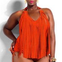 Plus Size Orange Tassel Fringed Embellished  Halter Swimwear