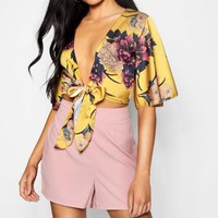 Hailey Angel Sleeve Satin Tie Front Crop Blouse | Boohoo