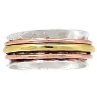 Spinner Ring - Three Tone Three Band Low Profile