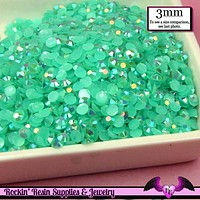 300 pcs 3mm AB JELLY AQUA Blue Green Decoden Faceted Flatback Candy Rhinestones